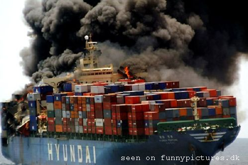 Burning container ship